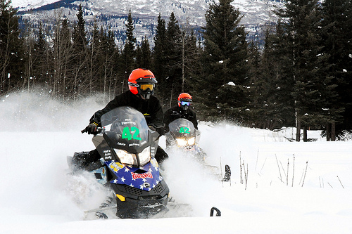Snowmobiles riding in snowy scene